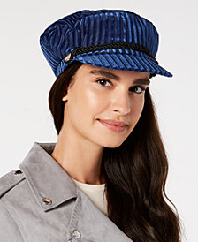 I.N.C. Striped Velvet Newsboy Cap, Created for Macy's