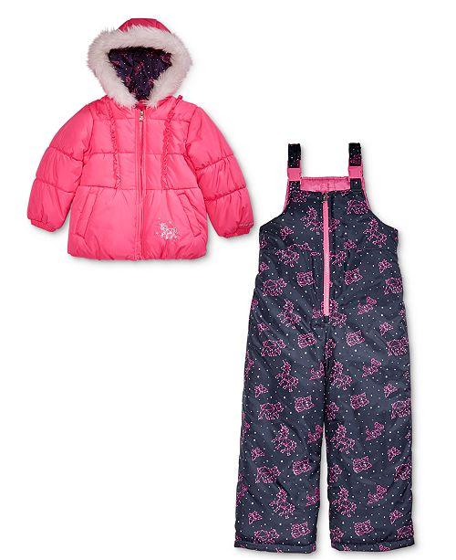 2f59625eb London Fog Toddler Girls Hooded Unicorn Snowsuit with Faux-Fur Trim ...