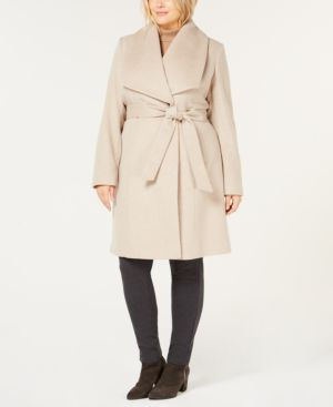 Cole Haan Plus Size Belted Wool Wrap Coat - Bone