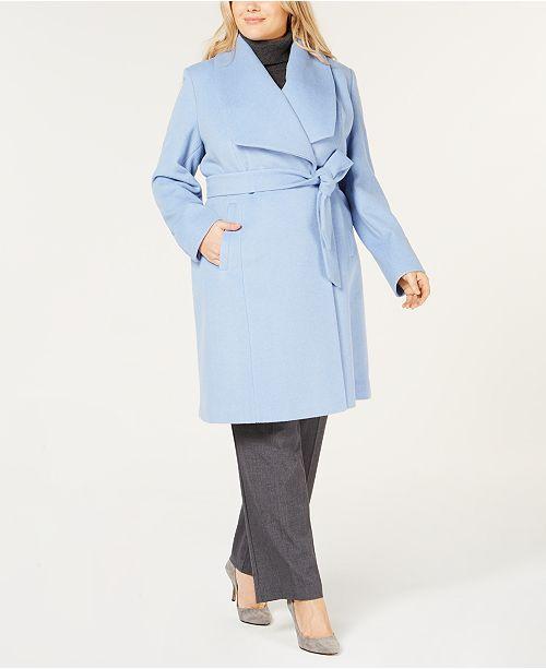 26a48ccf2d8 Cole Haan Plus Size Belted Wool Wrap Coat   Reviews - Coats - Women ...