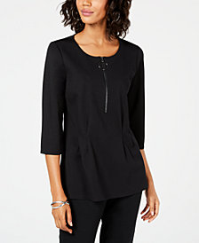 Alfani Zipper-Neck Top, Created for Macy's