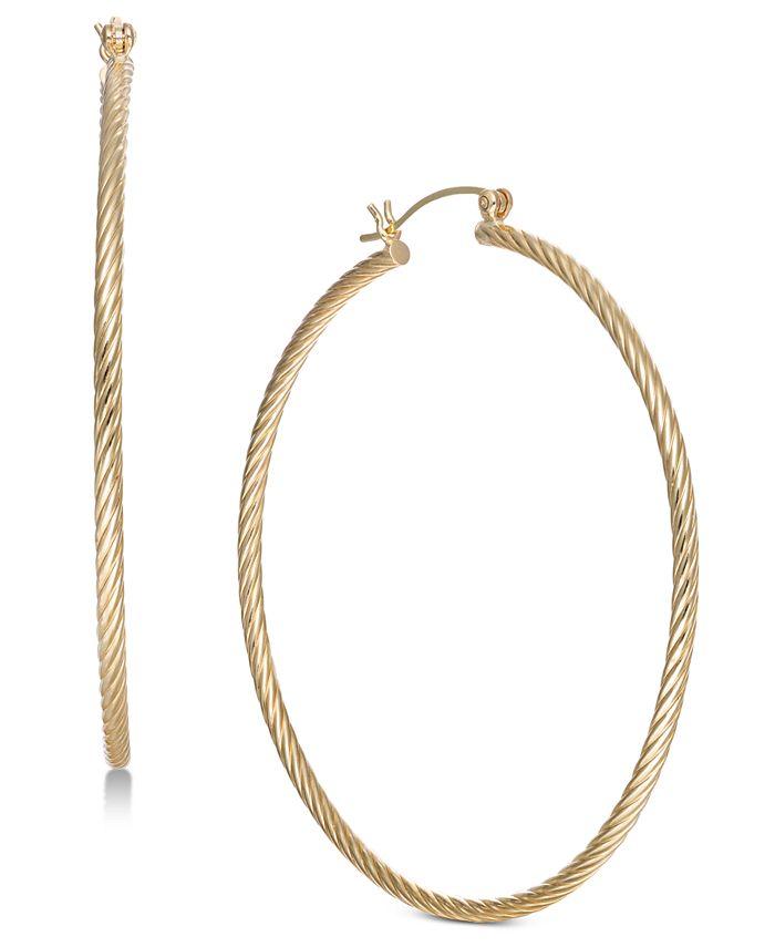 Macy's - Large Corrugated Hoop Earrings in 14k Gold