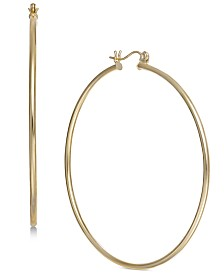 Large Polished Hoop Earrings in 14k Gold
