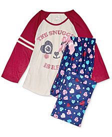 Max & Olivia Big Girls Graphic-Print Pajama Top & Printed Pants