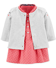 Carter's Baby Girls 2-Pc. Kitty Cardigan & Dot-Print Corduroy Cotton Dress Set