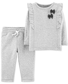 Carter's Baby Girls 2-Pc. Striped Bows Top & Pants Set