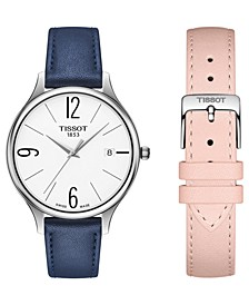 Women's Swiss T-Lady Bella Ora Interchangeable Blue & Pink Leather Strap Watch 38mm