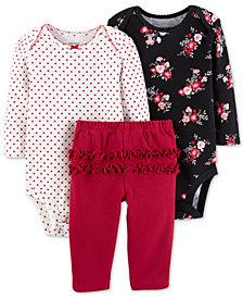 Carter's Baby Girls 3-Pc. Printed Cotton Bodysuits & Ruffle Pants Set