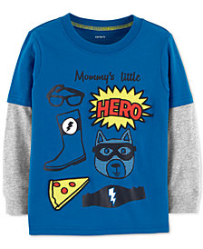 Carter's Baby Boys Hero-Print Layered-Look Cotton T-Shirt