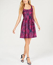 Pappagallo Floral Jacquard Fit & Flare Dress