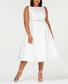 Adrianna Papell Plus Size Embellished-Belt Fit & Flare Dress