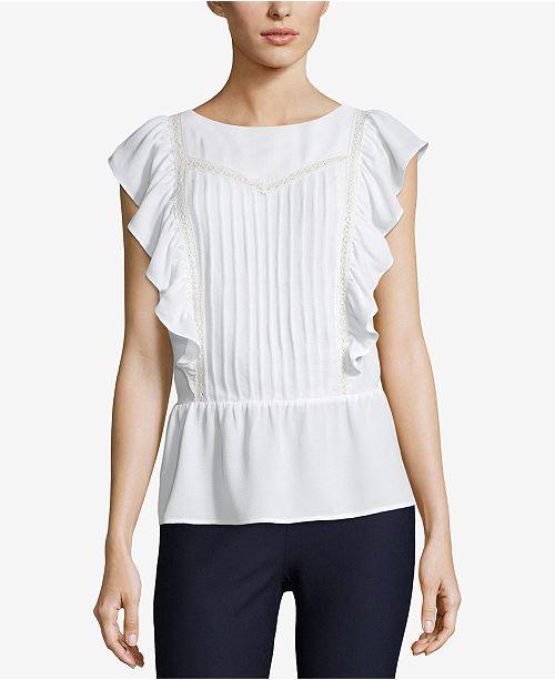 44629a99a03 ECI Lace-Trim Peplum Top - Tops - Women - Macy s