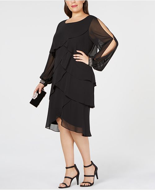SL Fashions Plus Size Tiered Ruffled Chiffon Dress ...