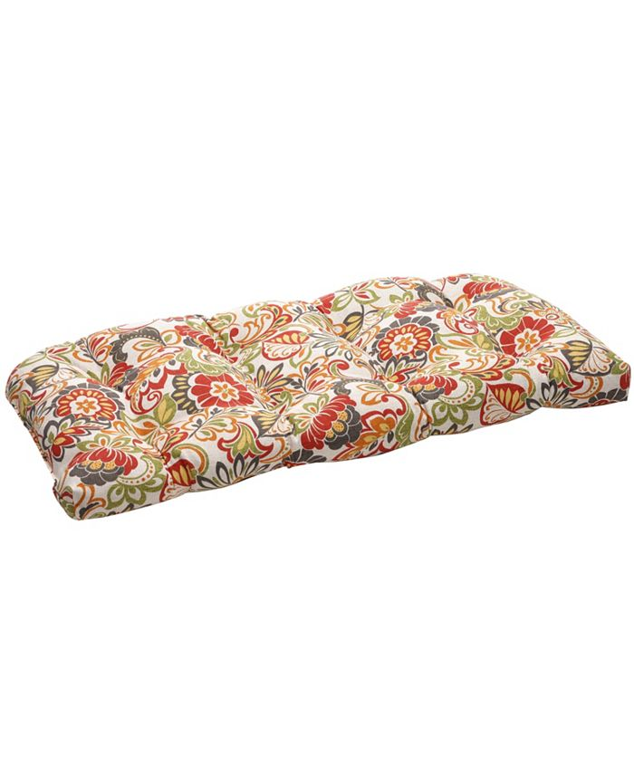 Pillow Perfect - Zoe Citrus Wicker Loveseat Cushion