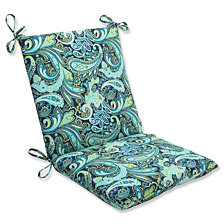 Pretty Paisley Navy Squared Corners Chair Cushion