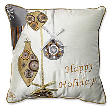 "Holiday Ornaments Gold/Silver 16.5"" Throw Pillow"