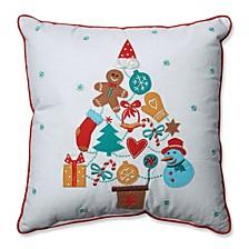 "Gift Tree Red-Aqua 16"" Throw Pillow"