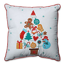 "Gift Tree Red-Aqua 16"" Throw Pillow"