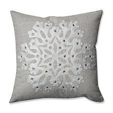 "Snowflake Grey 16.5"" Throw Pillow"