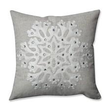"""Snowflake Grey 16.5"""" Throw Pillow"""