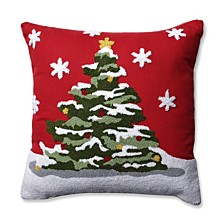 """Flocked Tree Red 16.5"""" Throw Pillow"""