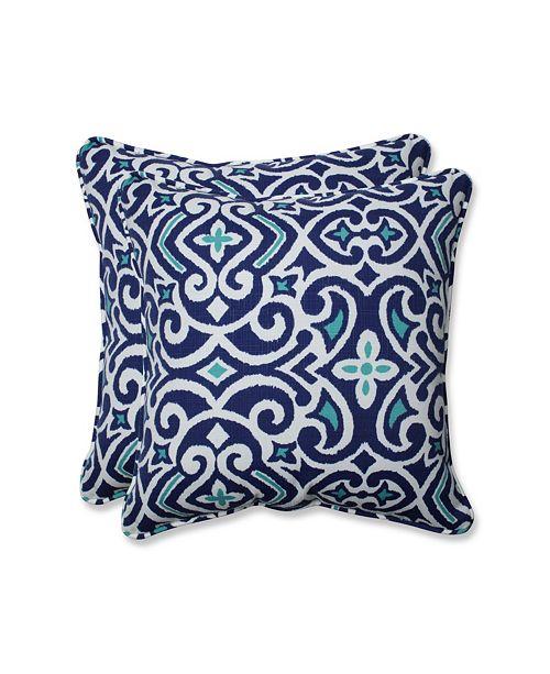 """Pillow Perfect New Damask  Marine 18.5"""" Throw Pillow, Set of 2"""