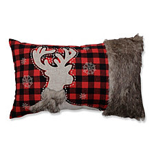 Fur Reindeer Oblong Red/Black Rectangular Throw Pillow