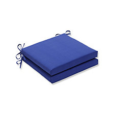 Fresco Navy Squared Corners Seat Cushion, Set of 2