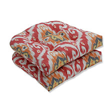 Ubud Coral Wicker Seat Cushion, Set of 2
