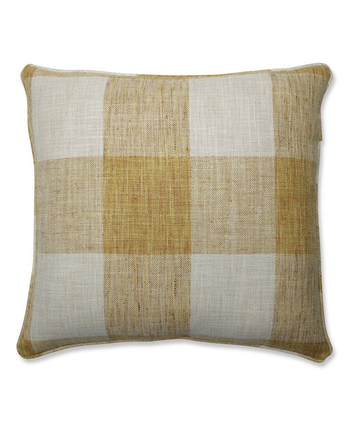 Pillow Perfect - Check Please Sunshine 18-inch Throw Pillow