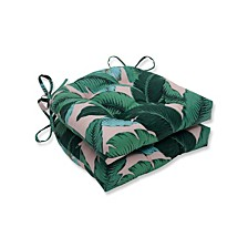 "Palms 15"" x 16.5"" Outdoor Chair Pad Seat Cushions Set of 2"