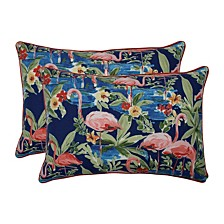 Flamingoing Lagoon Over-sized Rectangular Throw Pillow, Set of 2