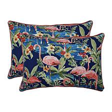Flamingoing Lagoon Over-sized Rectangular Throw Pillow, Set of 2