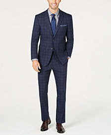 Perry Ellis Men's Slim-Fit Stretch Dark Blue Windowpane Plaid Suit