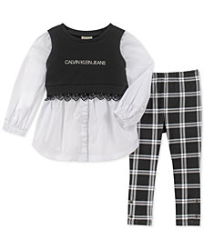 Calvin Klein Toddler Girls 2-Pc. Layered-Look Tunic & Plaid Leggings Set