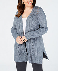 Karen Scott Plus Size Pointelle Open-Front Cardigan, Created for Macy's