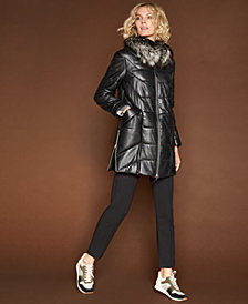 The Fur Vault Fox-Collar Leather Coat