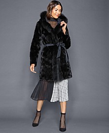 Reversible Mink Fox-Trim Coat