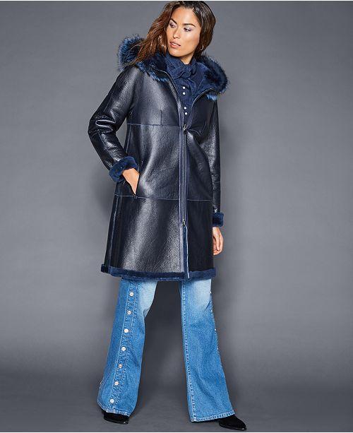 761ff699a10 The Fur Vault Hooded Shearling Lamb Coat   Reviews - Coats - Women ...