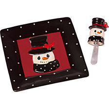 Snow Much Fun Snowman Cheese Plate And Spreader