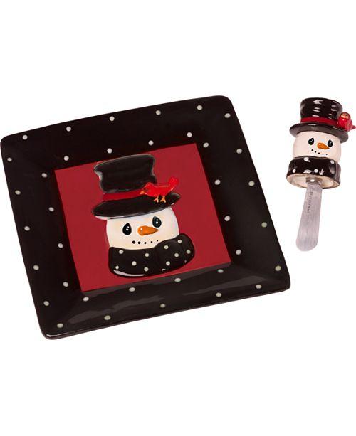 Precious Moments Snow Much Fun Snowman Cheese Plate And Spreader