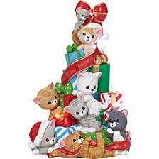 We Wish You A Merry Christmas Cat And Mouse Lighted Music Box