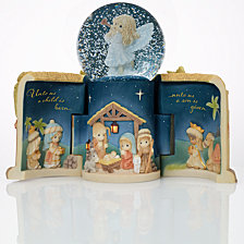 Precious Moments Come Let Us Adore Him Nativity Musical LED Snow Globe