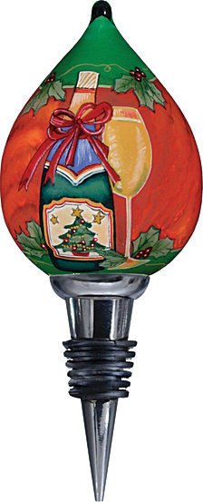 Ne Qwa Art Hand-Painted Blown Glass Christmas Wine Wine Stopper