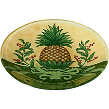 Ne'Qwa Art Hand-Painted Glass Welcome Pineapple Serving Plate