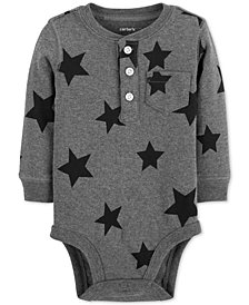 Carter's Baby Boys Star-Print Cotton Henley Bodysuit