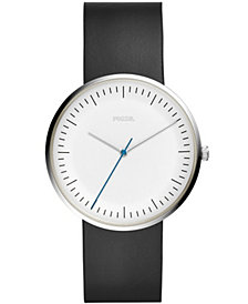 Fossil Men's Essentialist Black Leather Strap Watch 42mm