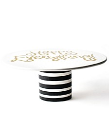 Happy Everything by Laura Johnson Collection Black Stripe Ruffle Cake Stand