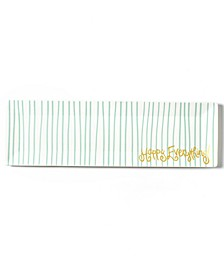 Happy Everything by Laura Johnson Collection Mint Stripe Skinny Rectangle Tray