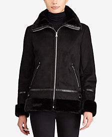 Lauren Ralph Lauren Petite Faux-Shearling Moto Jacket